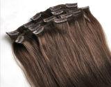 Grampo da alta qualidade de 100% em extensões Brown preto do cabelo louro