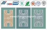 Le basket-ball en cristal de SPU folâtre le plancher de cour avec le certificat d'Iaaf