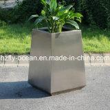 Fo9019屋外のブラシをかけられたステンレス鋼の植木鉢