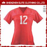 Camisas cortas del fútbol americano de las mujeres del cuello de la funda V