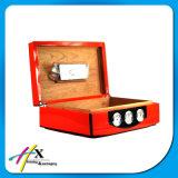 Hoher glatter lackierter Zeder-hölzerne Luftfeuchtigkeitsregler-Zigarre-verpackenkasten