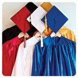 Rose brillant d'enfants de graduation de robe faite sur commande de chapeau