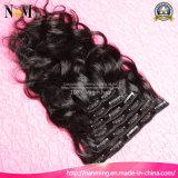 O grampo de cabelo novo do cabelo de Remy do Virgin da chegada 2016 na cabeça cheia do projeto das extensões do cabelo humano ajustou 8-30 polegadas disponíveis