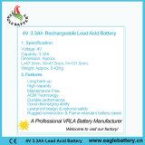 batería de plomo recargable de 4V 3.3ah VRLA para el alumbrado de seguridad