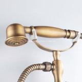 Grifo de cobre amarillo de la ducha del baño de la maneta doble montada en la pared artística de Wenzhou con la ducha de la mano del teléfono