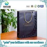 Sacco di acquisto di carta al minuto opaco nero di lusso del regalo di stampa di marchio