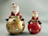 Cerámica Santa Claus Candle Holder para la decoración del hogar