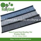 Mattonelle di tetto d'acciaio con i chip di pietra ricoperti (tipo di legno)