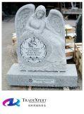 Pietra tombale adagiantesi di angelo intagliata granito bianco, Headstone