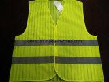 Engranzamento do amarelo 100%Polyester da gripe da veste da segurança com listra