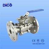 3PC DIN Pn16/Pn40 a bridé robinet à tournant sphérique d'extrémité