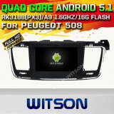 Carro DVD GPS do Android 5.1 de Witson para Peugeot 508 com sustentação do Internet DVR da ROM WiFi 3G do chipset 1080P 16g (A5637)
