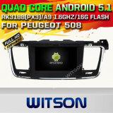 Автомобиль DVD GPS Android 5.1 Witson на Peugeot 508 с поддержкой интернета DVR ROM WiFi 3G набора микросхем 1080P 16g (A5637)