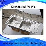 Dissipador de cozinha original do aço inoxidável 304 do estilo da exportação