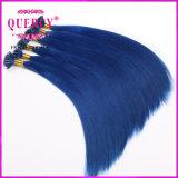 Venda por atacado de cola de Itália 100% Blue Color Brazilian Human Keratin Hair U Tip Extensions