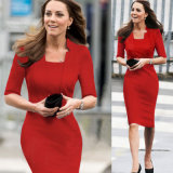 Herbst in Princess Sleeve Collar mit Knie-Length Pencil Dress