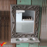 Francés agrícolas de madera Espejo de pared con vela titular
