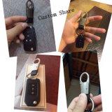Métal promotionnel Keychain de cuir d'anneau principal de logo de laser de cadeau