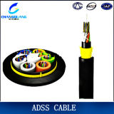 ADSS 섬유 케이블은 모든 절연성 Ing 광섬유 케이블 Aramid 털실 힘 일원 단일 모드 광 케이블 옥외 광학 섬유 케이블을 각자 지원한다