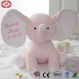 분홍색 코끼리 귀여운 아기 견면 벨벳 부드러움은 앉는 수를 놓은 장난감을 채웠다