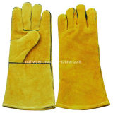 14 '' польностью выровнянных перчатки заварки Spliet Cowhide кожаный и перчатки деятельности, Кевлар кожаный перчатки заварки, усиленные перчатки большого пальца руки кожаный для пользы Welder