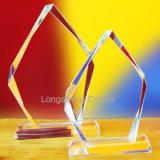 Premio de cristal trofeo barato en blanco cristalino claro de girasol