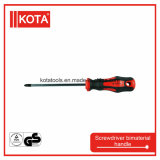 Chrome Plated를 가진 CRV Pozi Screwdriver Bimaterial Handle