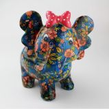 Venda Por Atacado Beautiful Elephant Ceramic Saving Bank with Flower Design