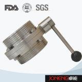 Manual de acero inoxidable de procesamiento de comida válvula de mariposa soldada (JN-BV2008)