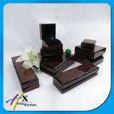 Conjunto de madera de lujo del rectángulo de almacenaje de la joyería de la alta laca brillante del piano del final de Brown de la vendimia