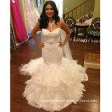 Vestidos de casamento inchado Z8016 do laço da sereia dos vestidos nupciais do querido
