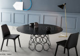 Tabella pranzante ovale di vetro nera moderna con i piedini inossidabili (NK-DT212-1)