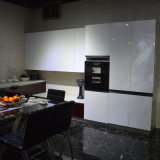アルミニウムフレームのガラスドアのLiftupの台所吊り戸棚の台所家具の新しい台所デザイン
