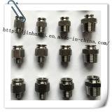 Encaixes pneumáticos do aço inoxidável do equipamento do CNC (304, 316)