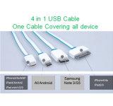 携帯電話のための1つのヌードルUSBのデータケーブルに付き多機能の4つ