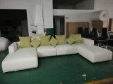 L sofa sectionnel de tissu de toile de coin de forme avec le repose-pieds (FS-020)