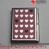 Rosafarbenes Inner-Muster-nützliches Metallhartes Deckel-Notizbuch
