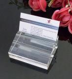 Carrinho de cristal do cartão da forma do diamante, suporte de cartão de vidro