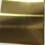 AISI 304 316 precio decorativo inoxidable de la talla de la hoja 4X8 del color de cobre amarillo de la rayita de la hoja de acero