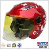 女性(OP203)のための赤いスクーターまたはモーターバイクまたはオートバイの開いた表面ヘルメット