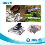 Cobertor Emergency de prata descartável da sobrevivência do salvamento para o curso