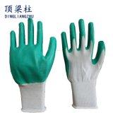 De Beschermende Industriële Werkende Handschoenen van de arbeid met Groen Met een laag bedekt Nitril