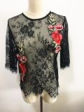 Roupas de moda Sexy Eyelash Lace 3/4 Sleeve Round Neck Women Tops