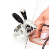 Кольца кролика прозрачного Rhinestone большие для кец заявления черной эмали женщин животных