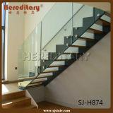 Escalera recta de madera del acero suave de la fabricación de China con la barandilla (SJ-S010)