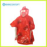 Kundenspezifisches Zeichen gedruckter PET wegwerfbarer Regenmantel Rpe-006A