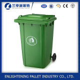 Uso al aire libre y cubo de basura respetuoso del medio ambiente del plástico de la característica