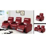 赤い革電気ホームシアターのリクライニングチェアのソファー6031TV