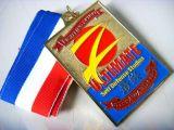 Kundenspezifische rechteckige Zink-Legierungs-weiche Decklack-Medaille mit Farbband