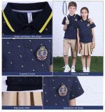 Short europeo Sleeve100%Cotton Wholesale Abitudine-ha fatto gli uniformi scolastichi di Primary con Polo